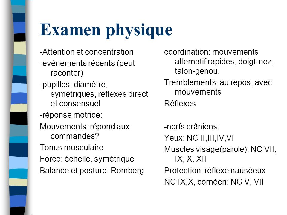 Examen physique -Attention et concentration