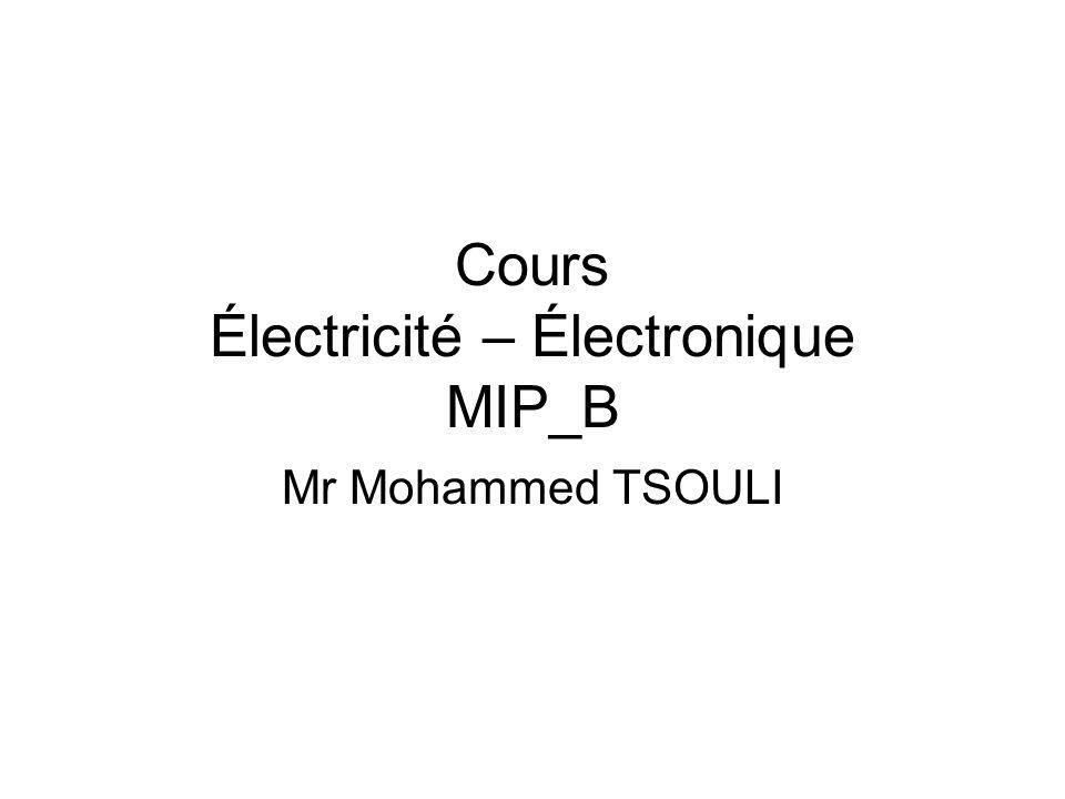 Cours Électricité – Électronique MIP_B