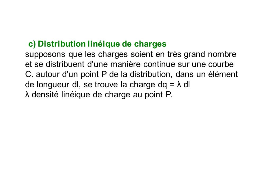 c) Distribution linéique de charges