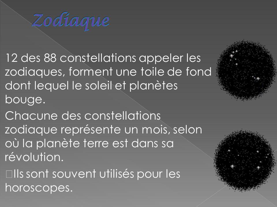 Zodiaque 12 des 88 constellations appeler les zodiaques, forment une toile de fond dont lequel le soleil et planètes bouge.