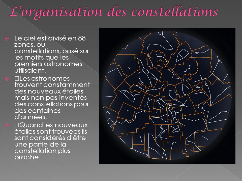L'organisation des constellations