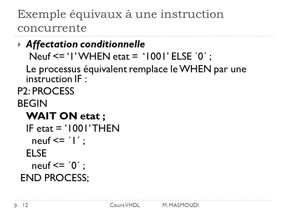 Exemple équivaux à une instruction concurrente