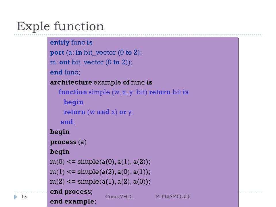 Exple function entity func is port (a: in bit_vector (0 to 2);