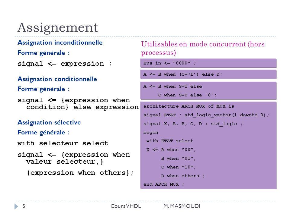 Assignement Utilisables en mode concurrent (hors processus)