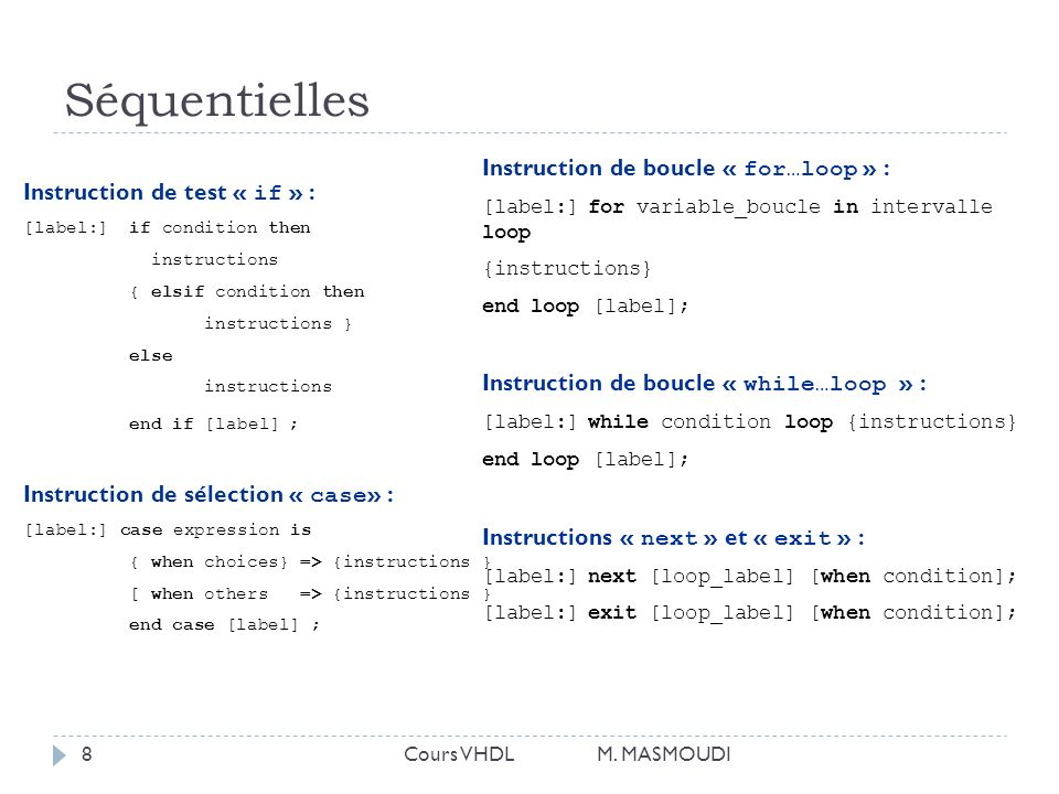 Séquentielles Instruction de boucle « for…loop » :