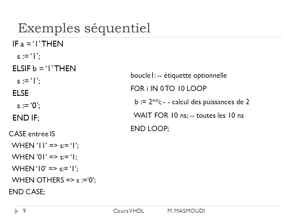 Exemples séquentiel IF a = '1' THEN s := '1'; ELSIF b = '1' THEN ELSE