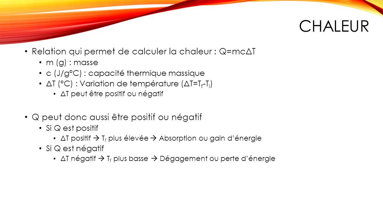 Chaleur Relation qui permet de calculer la chaleur : Q=mcΔT