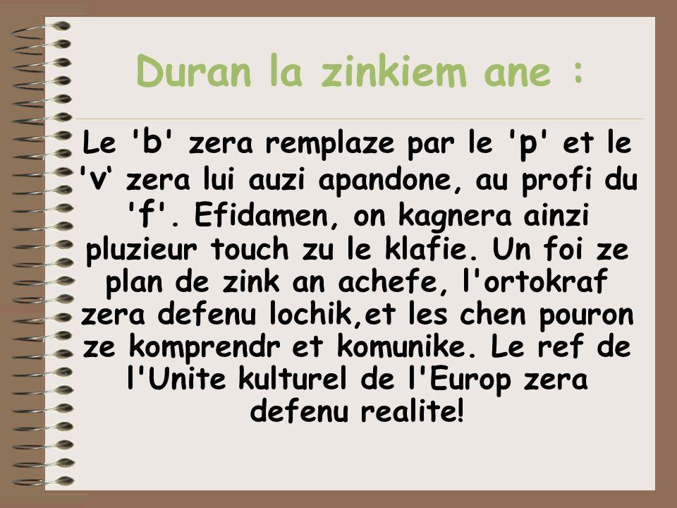 Duran la zinkiem ane :