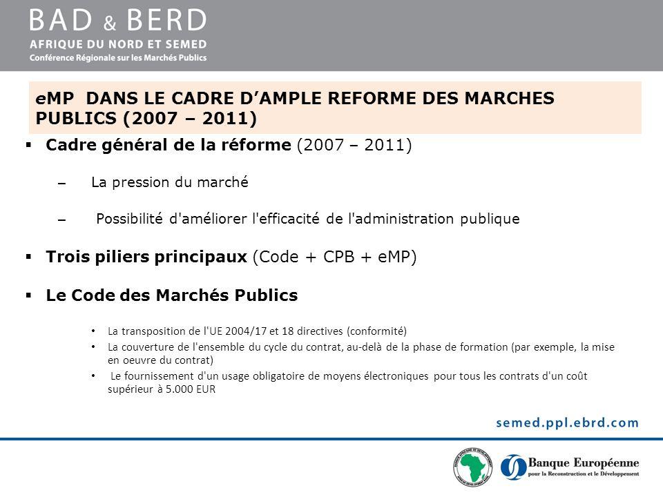 eMP DANS LE CADRE D'AMPLE REFORME DES MARCHES PUBLICS (2007 – 2011)