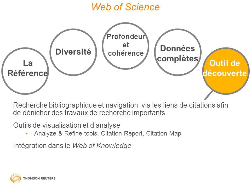 Web of Science Données complètes Diversité La Référence Outil de