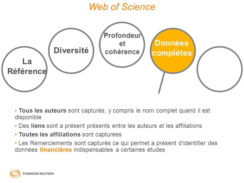 Web of Science Données complètes Diversité La Référence