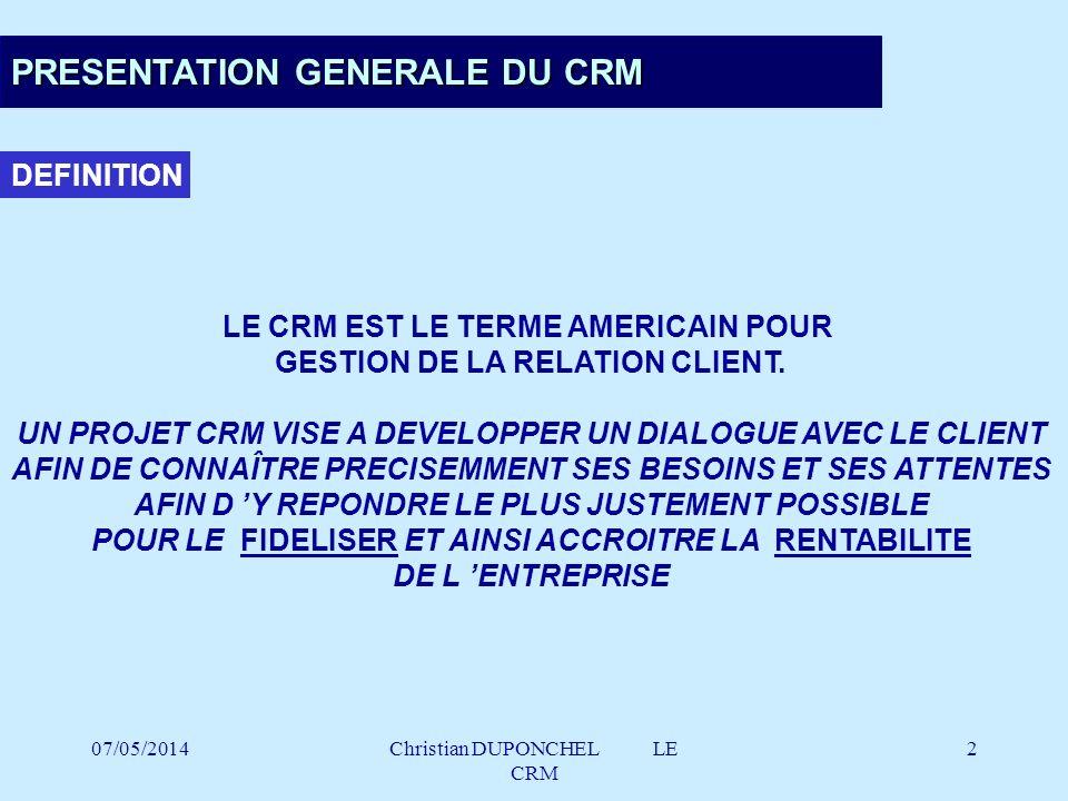 PRESENTATION GENERALE DU CRM