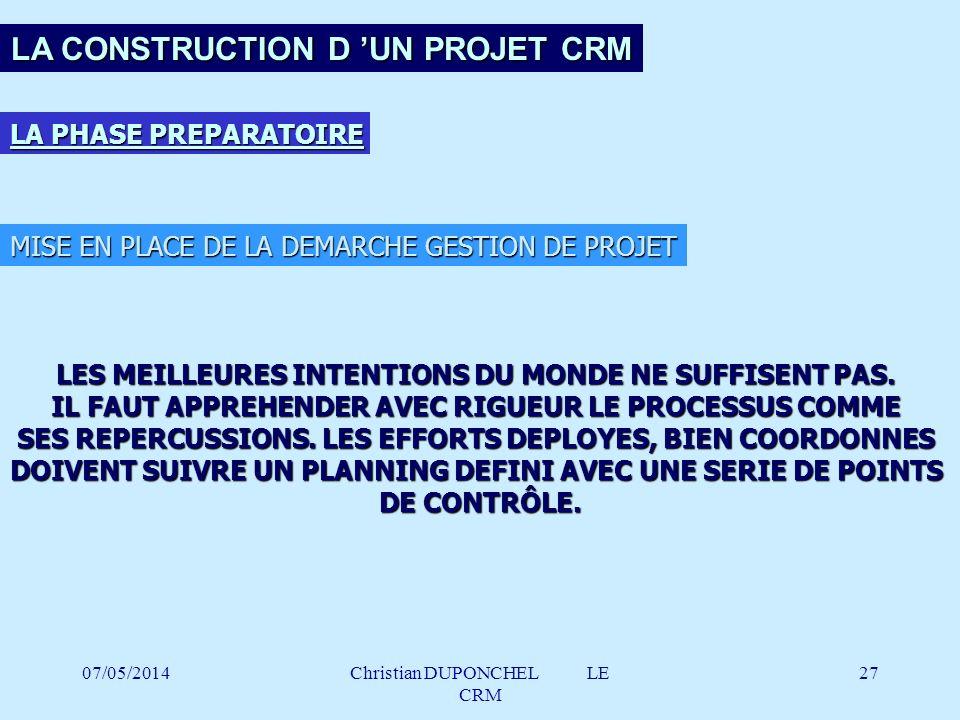 LA CONSTRUCTION D 'UN PROJET CRM