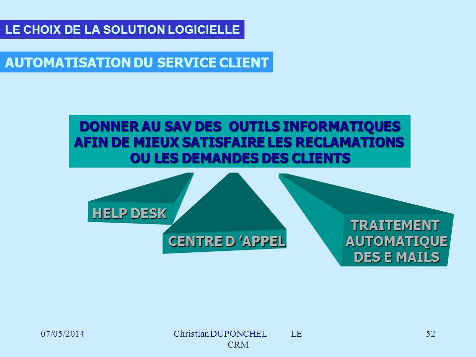 AUTOMATISATION DU SERVICE CLIENT