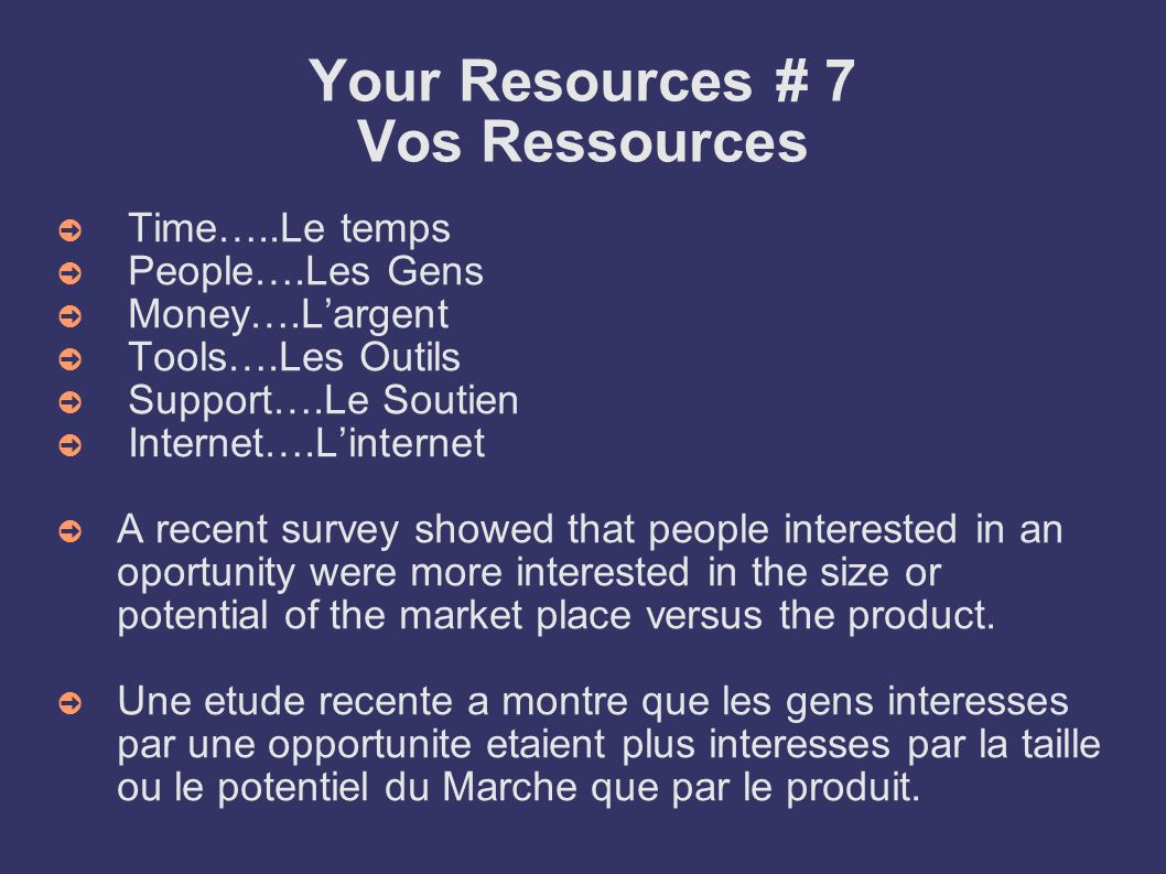 Your Resources # 7 Vos Ressources