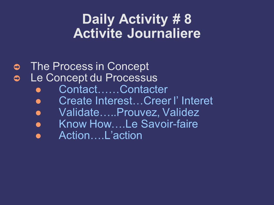 Daily Activity # 8 Activite Journaliere