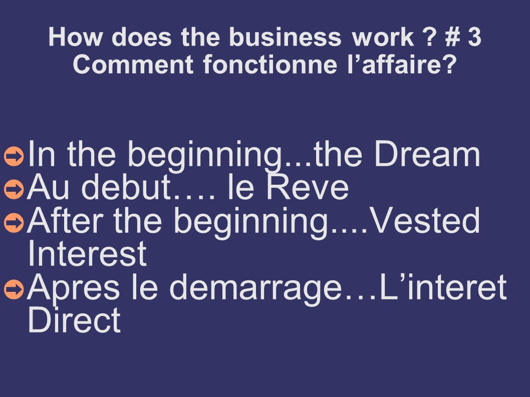 How does the business work # 3 Comment fonctionne l'affaire