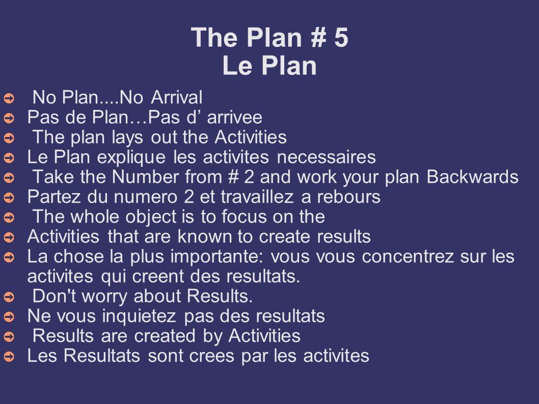 The Plan # 5 Le Plan No Plan....No Arrival Pas de Plan…Pas d' arrivee
