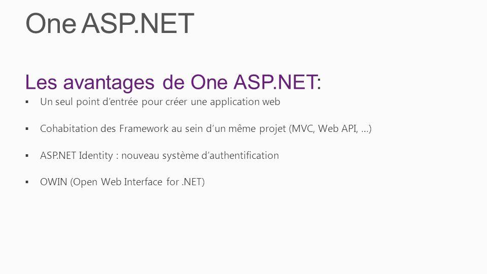 One ASP.NET Les avantages de One ASP.NET: