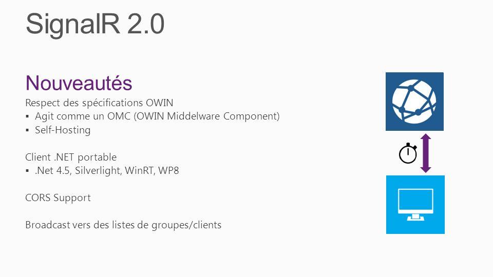 SignalR 2.0 Nouveautés Respect des spécifications OWIN