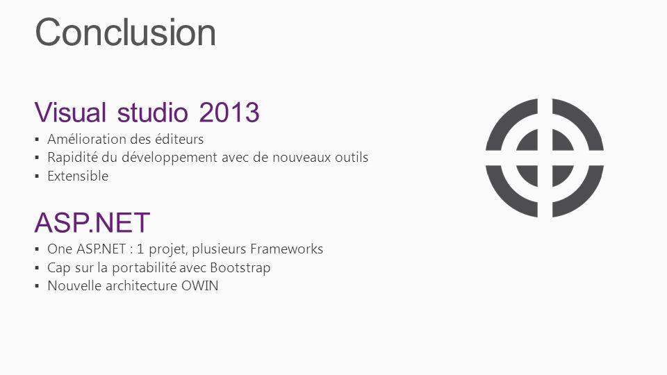 Conclusion Visual studio 2013 ASP.NET Amélioration des éditeurs
