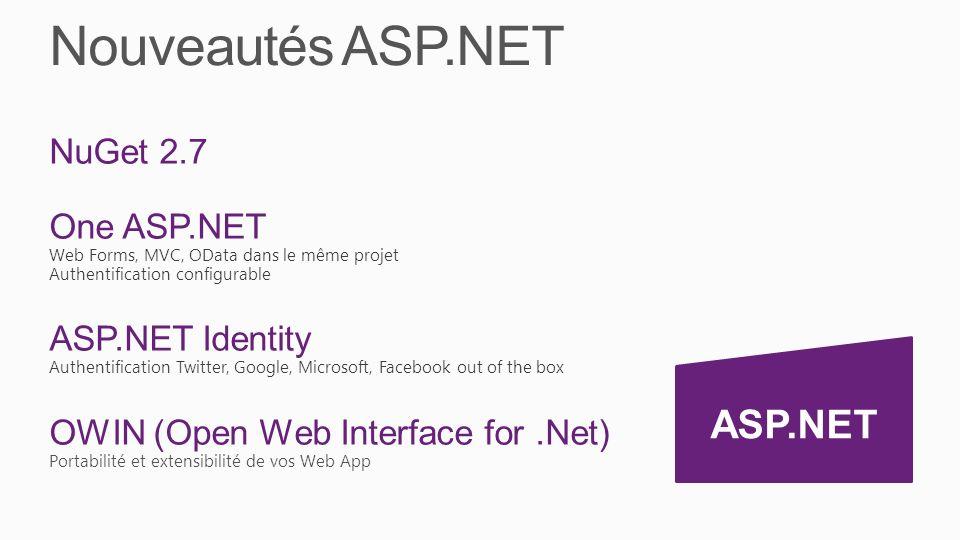 Nouveautés ASP.NET ASP.NET NuGet 2.7 One ASP.NET ASP.NET Identity