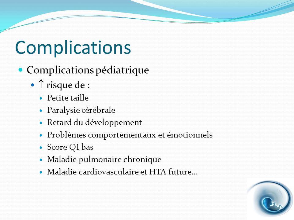 Complications Complications pédiatrique  risque de : Petite taille