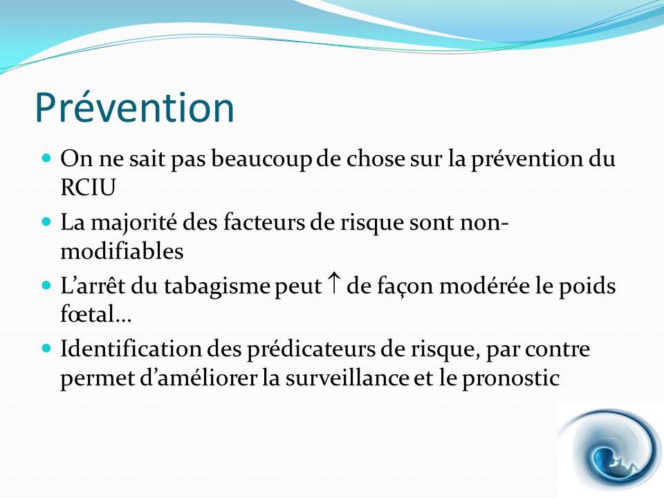 Prévention On ne sait pas beaucoup de chose sur la prévention du RCIU