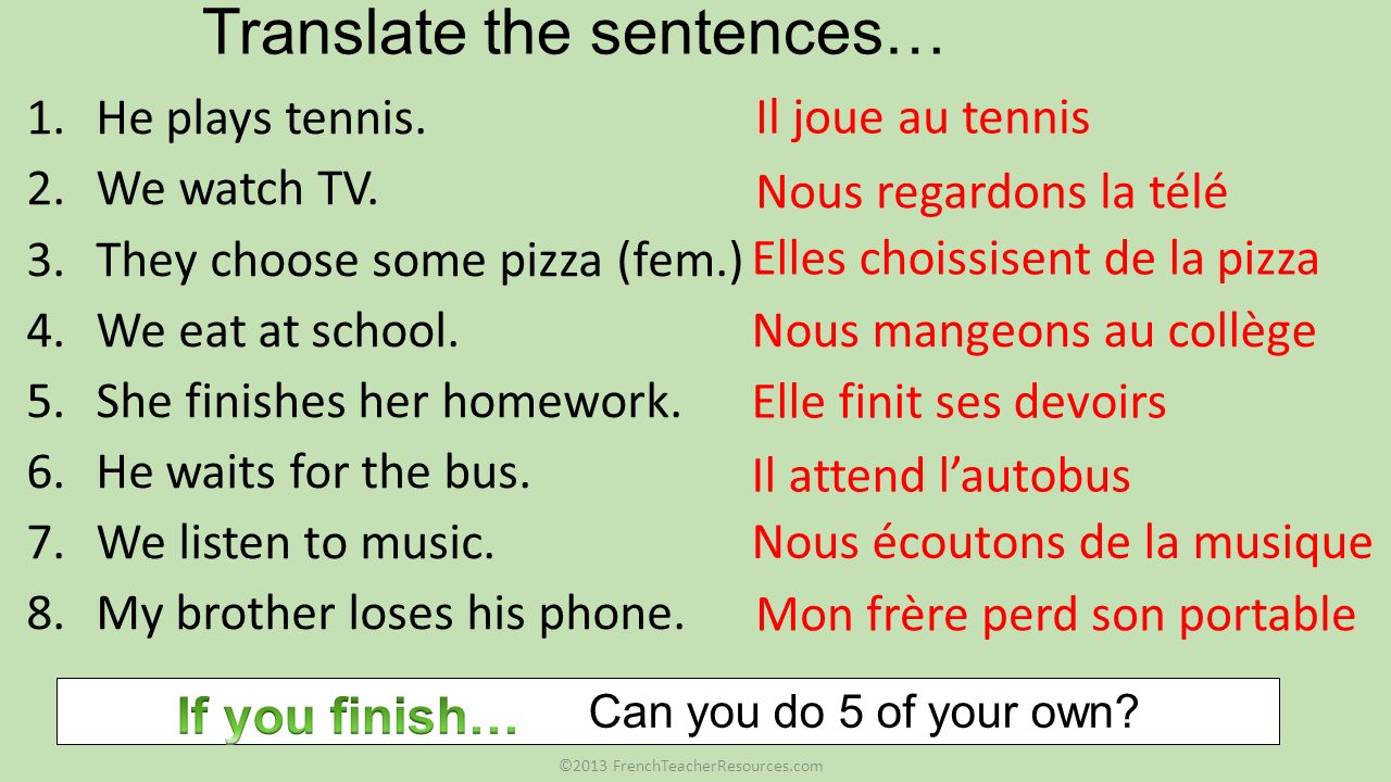 Translate the sentences…