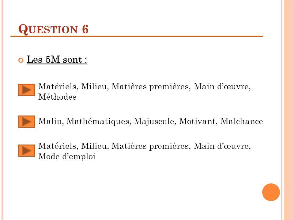Question 6 Les 5M sont : Matériels, Milieu, Matières premières, Main d'œuvre, Méthodes. Malin, Mathématiques, Majuscule, Motivant, Malchance.