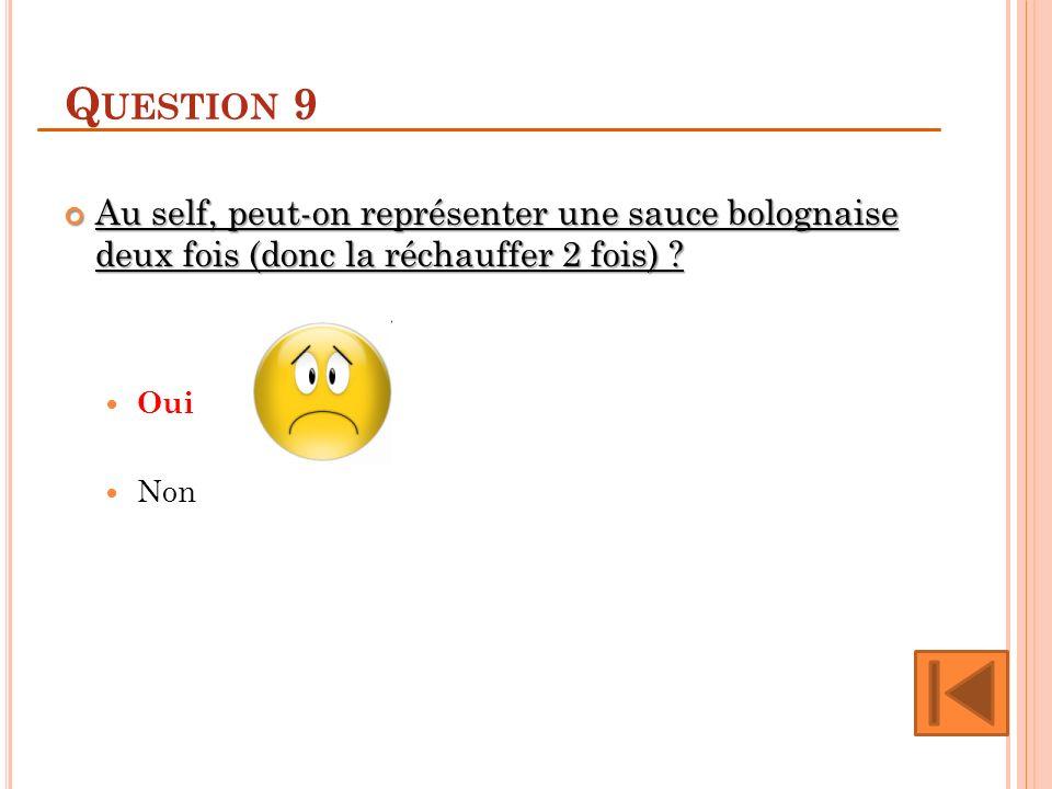 Question 9 Au self, peut-on représenter une sauce bolognaise deux fois (donc la réchauffer 2 fois)