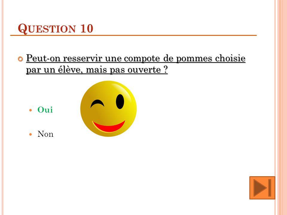 Question 10 Peut-on resservir une compote de pommes choisie par un élève, mais pas ouverte Oui.