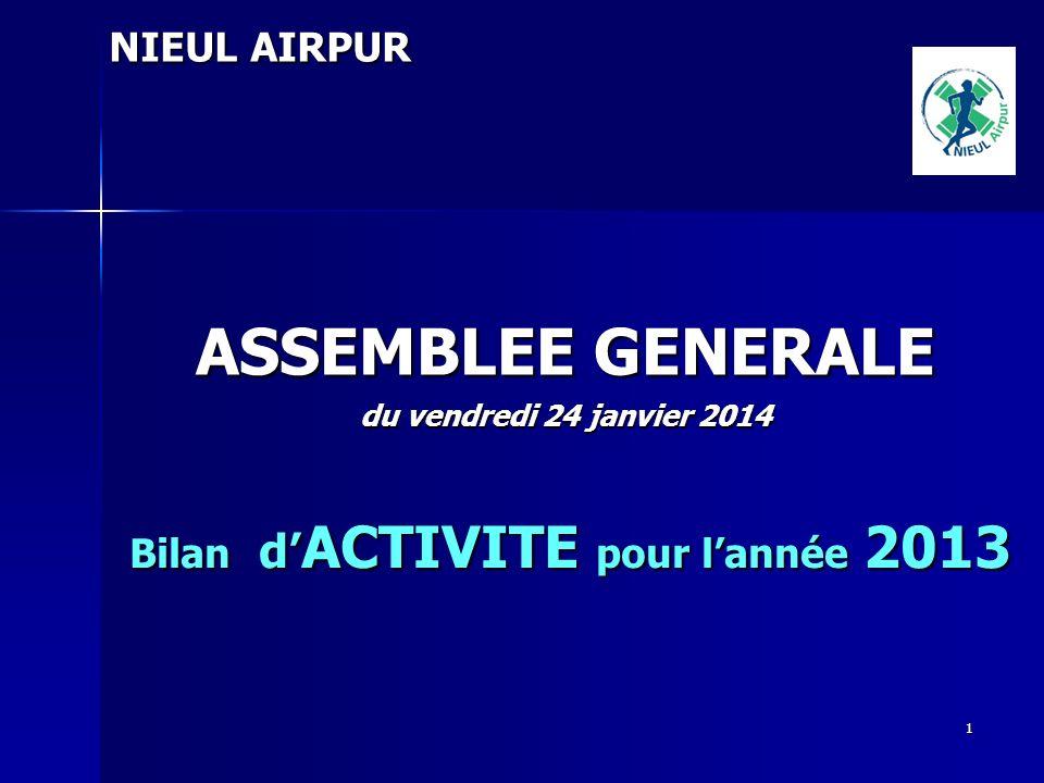 ASSEMBLEE GENERALE NIEUL AIRPUR Bilan d'ACTIVITE pour l'année 2013