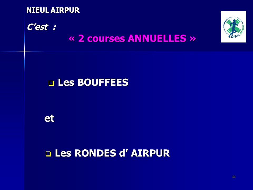 « 2 courses ANNUELLES » Les BOUFFEES et Les RONDES d' AIRPUR C'est :