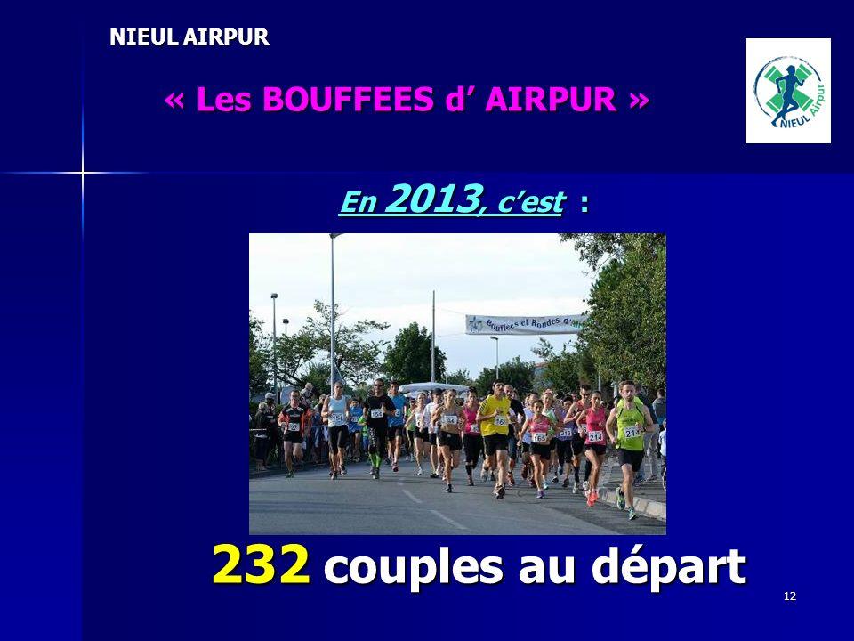 232 couples au départ « Les BOUFFEES d' AIRPUR » En 2013, c'est :