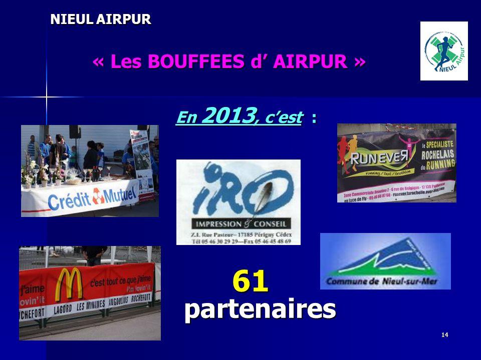 61 partenaires « Les BOUFFEES d' AIRPUR » En 2013, c'est :