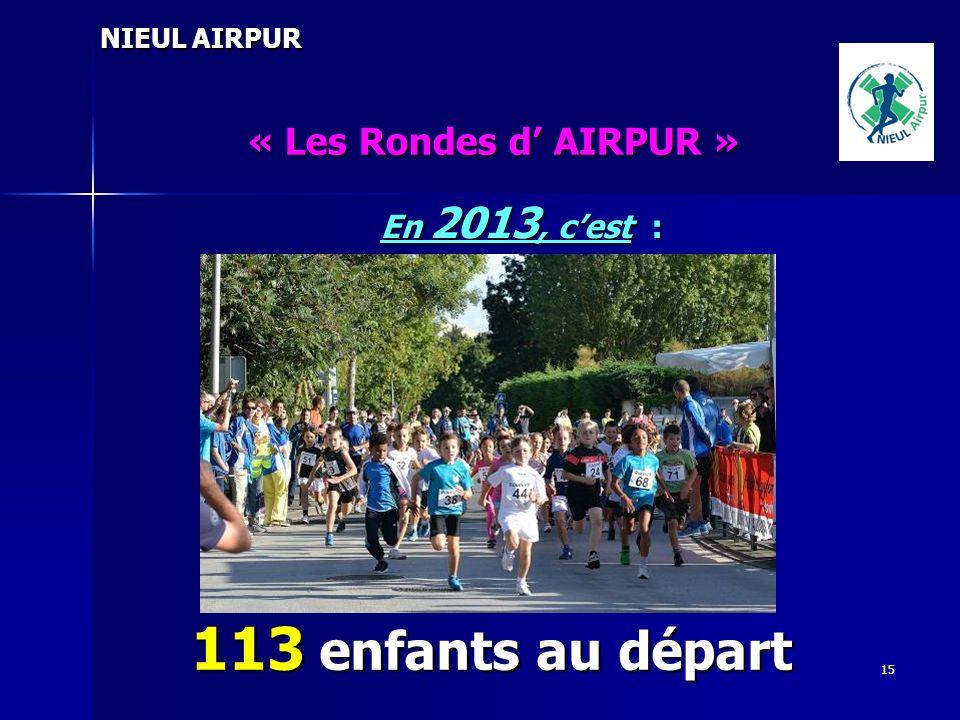 113 enfants au départ « Les Rondes d' AIRPUR » En 2013, c'est :