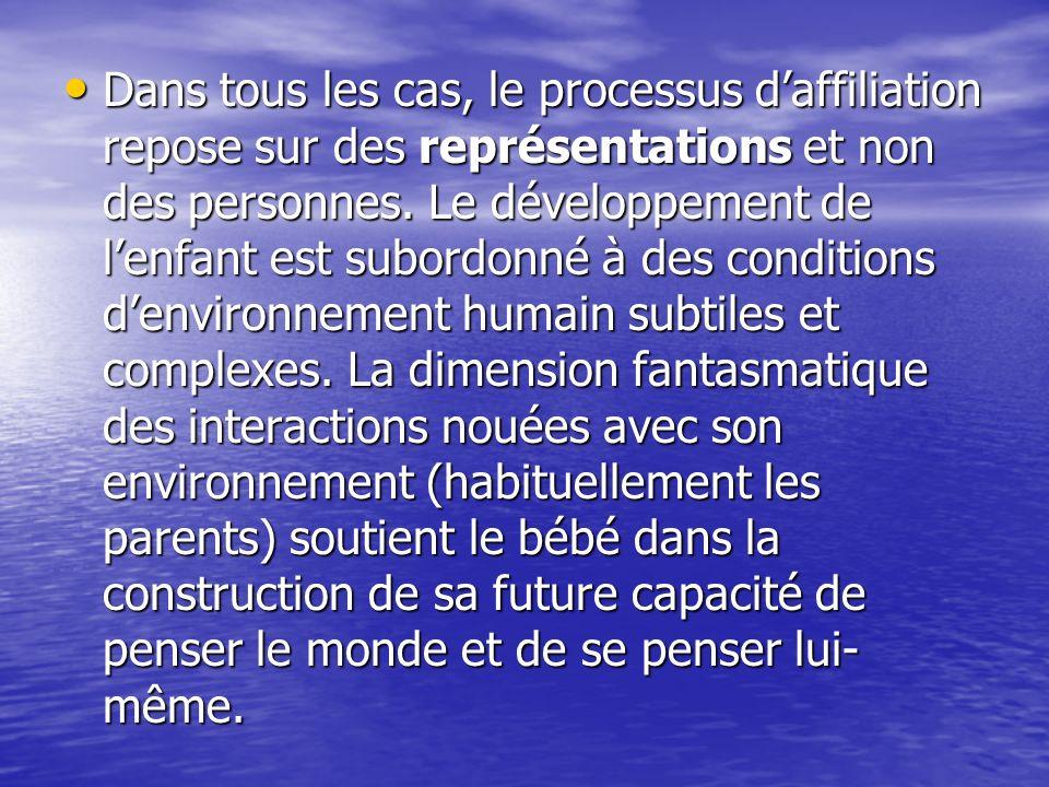 Dans tous les cas, le processus d'affiliation repose sur des représentations et non des personnes.