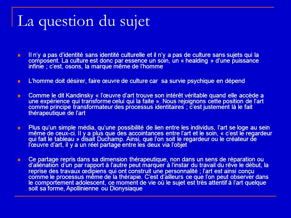 La question du sujet