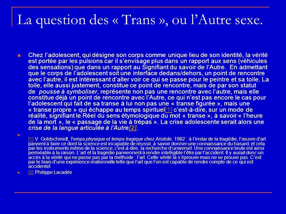 La question des « Trans », ou l'Autre sexe.