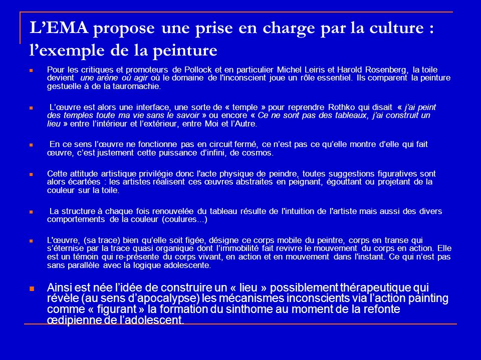 L'EMA propose une prise en charge par la culture : l'exemple de la peinture