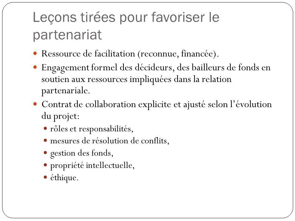 Leçons tirées pour favoriser le partenariat