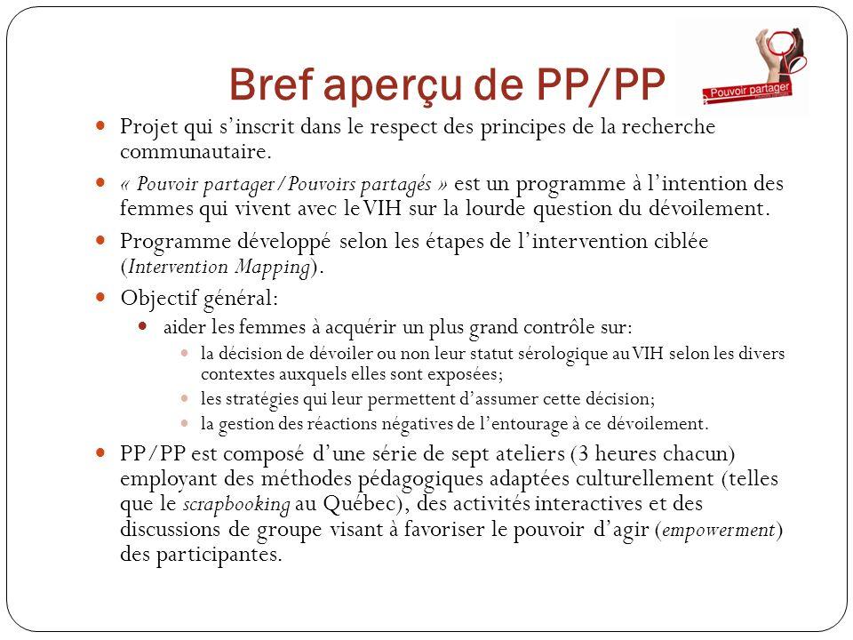 Bref aperçu de PP/PP Projet qui s'inscrit dans le respect des principes de la recherche communautaire.