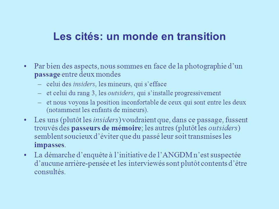 Les cités: un monde en transition