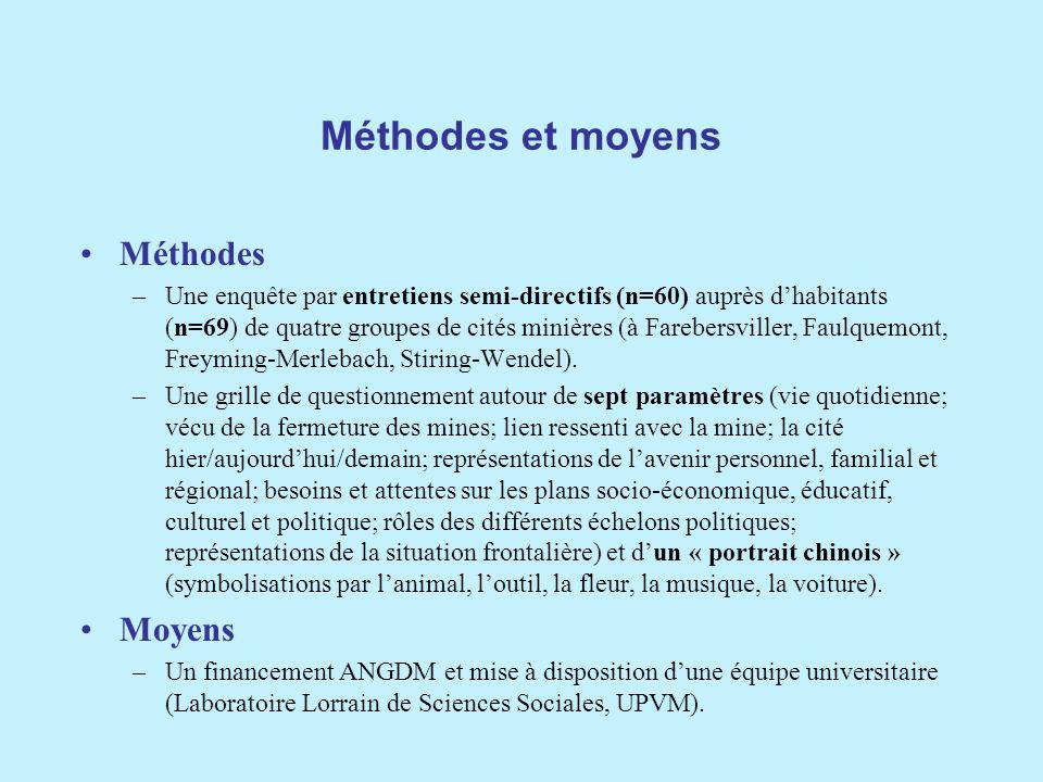Méthodes et moyens Méthodes Moyens
