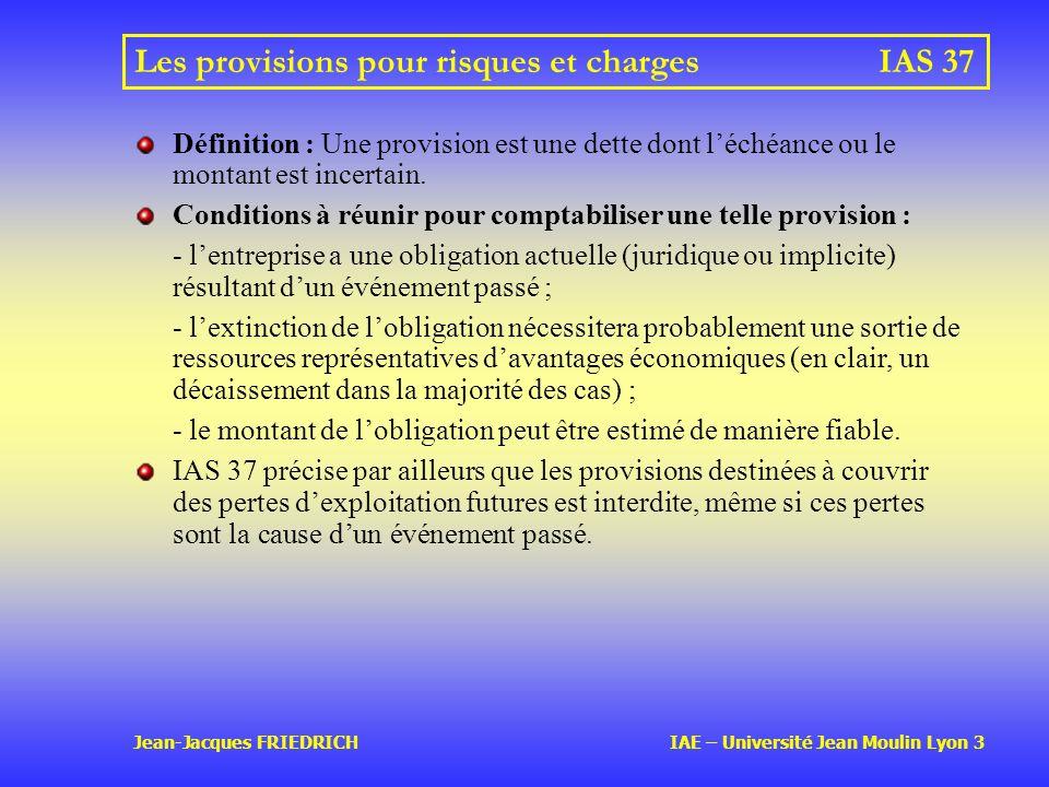 Les provisions pour risques et charges IAS 37
