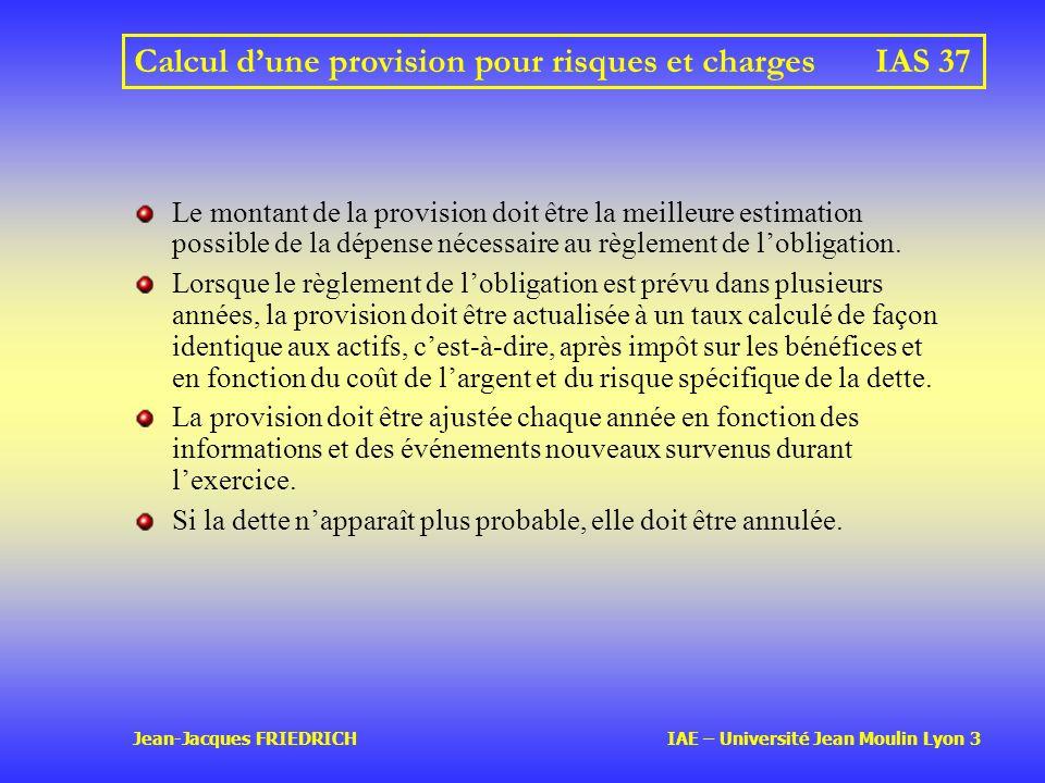 Calcul d'une provision pour risques et charges IAS 37