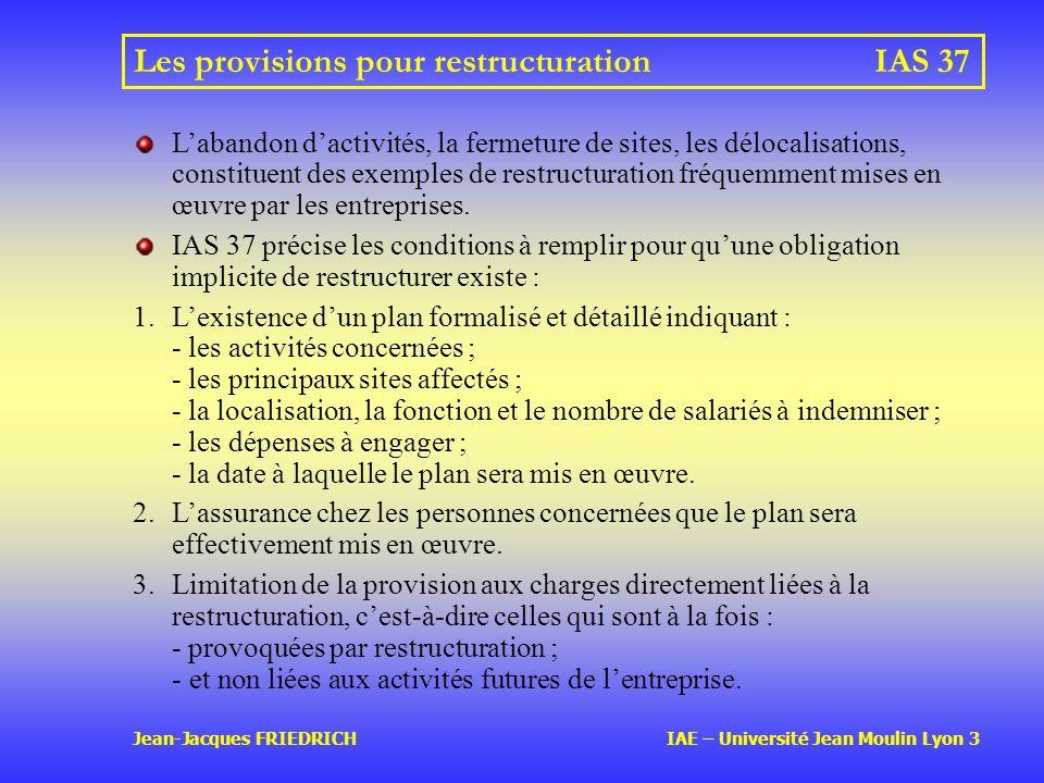 Les provisions pour restructuration IAS 37