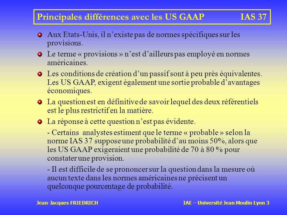 Principales différences avec les US GAAP IAS 37