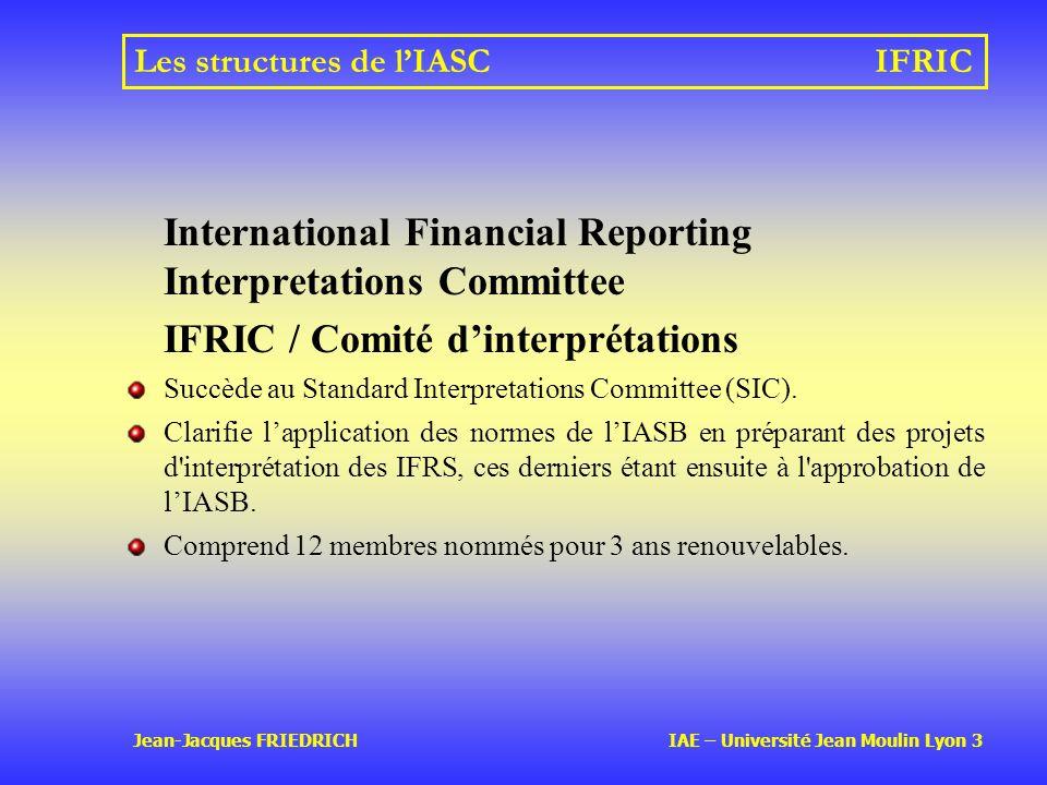 Les structures de l'IASC IFRIC
